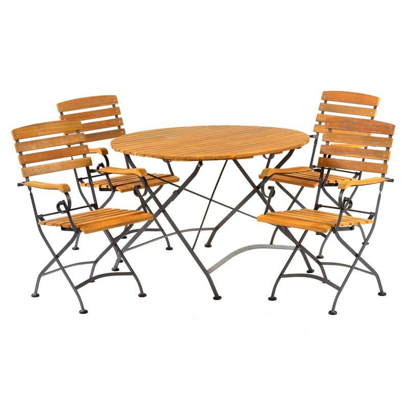 An image of Notting Large Folding Round Bistro Dining Arm Chair Set