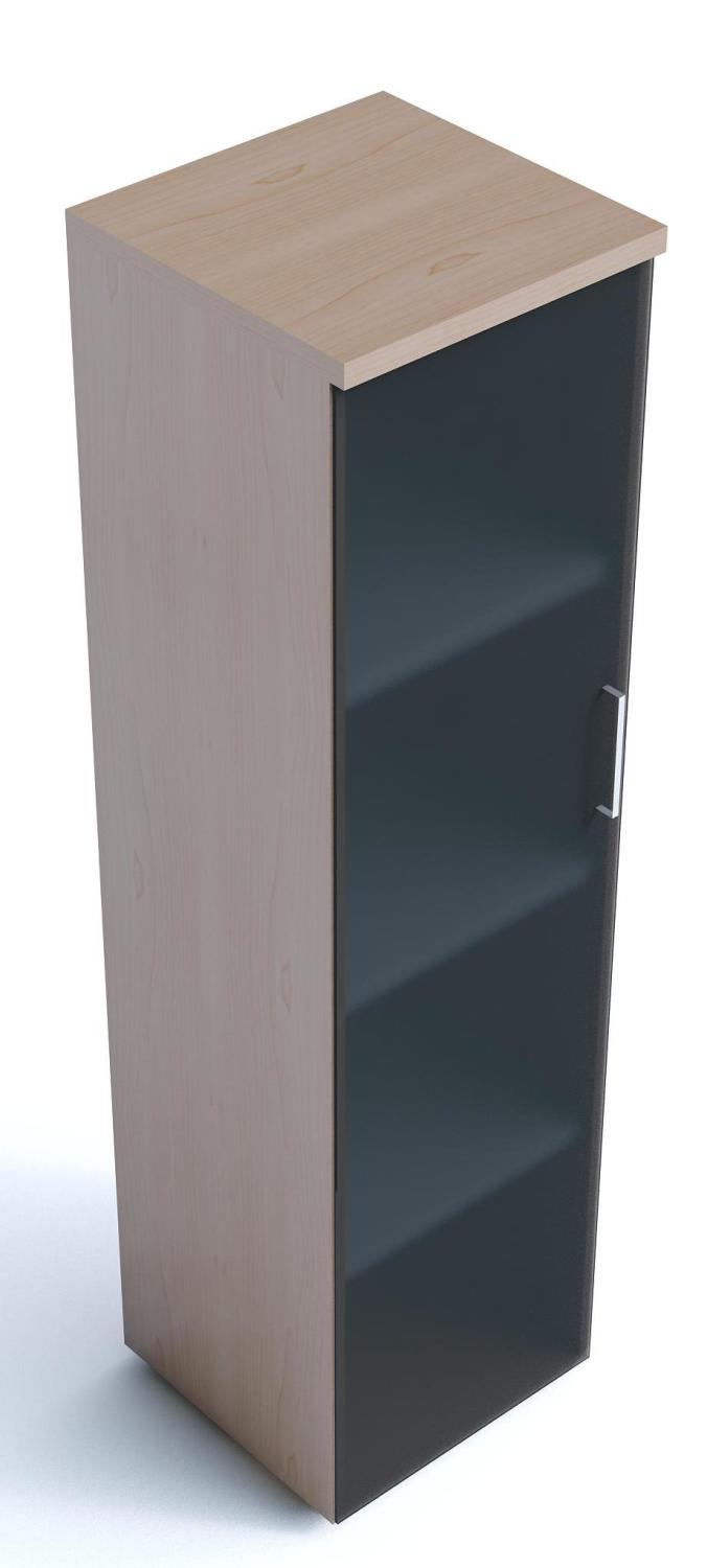 An image of Kompass Narrow Cupboards with Smoked Glass Doors - 865mm high 1...