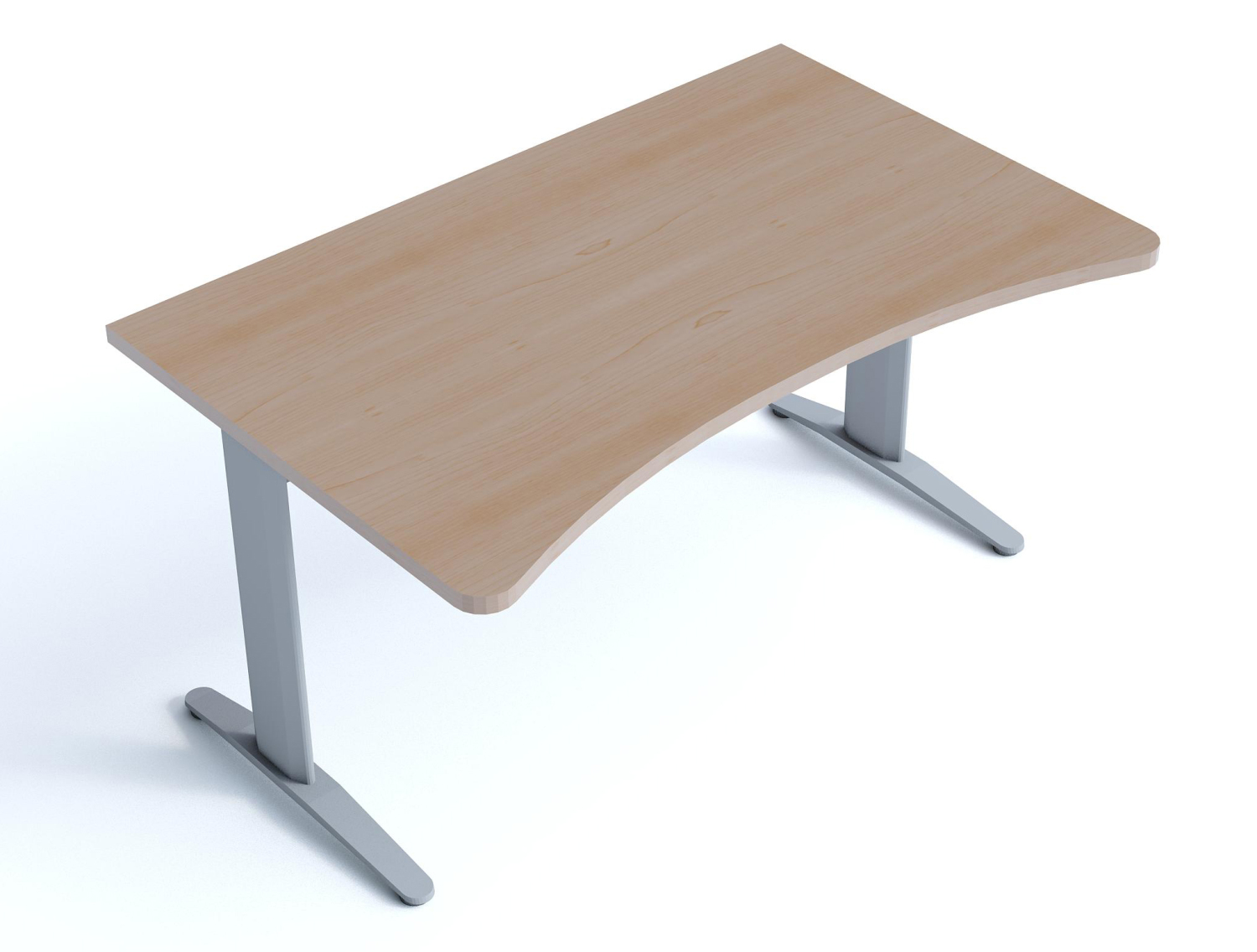 An image of Kompass ergonomic shaped desk with cantilever legs - 900mm Wide