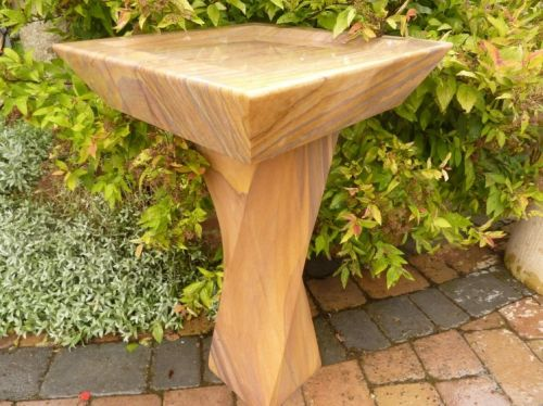 Square Sandstone Bird Bath