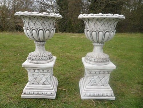 Weaved Urn's on Plinth