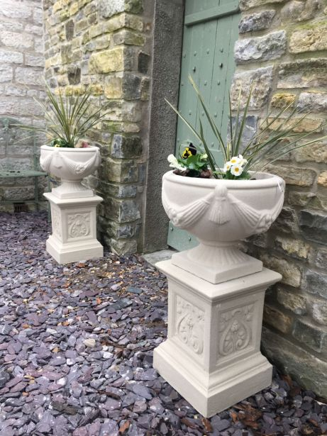 Buckingham Urns on French Pedestals