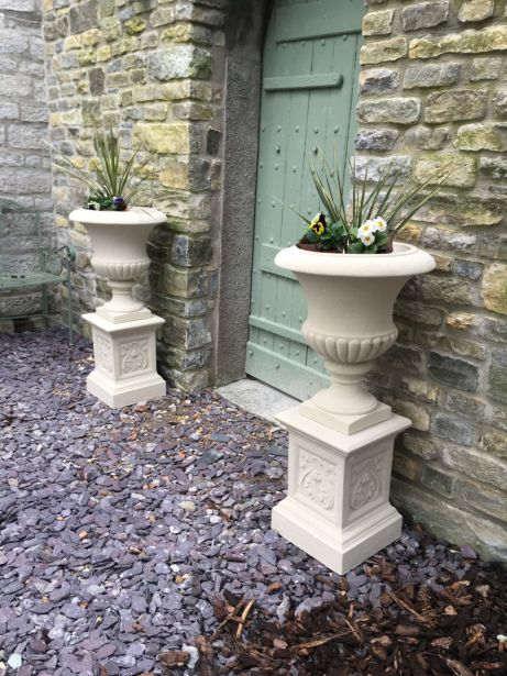 Templeton Urns on French Pedestals