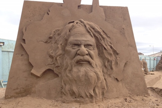 Australian sand sculpture at West Sand Festival, image by Vicky Banham for Visit Somerset