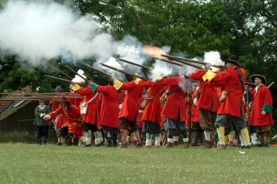 Battle of Sedgemoor re-enactment by Taunton Garrison, image from Visit Somerset Library