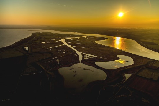 Sunset at Steart, image supplied by the Wildfowl and Wetlands Trust
