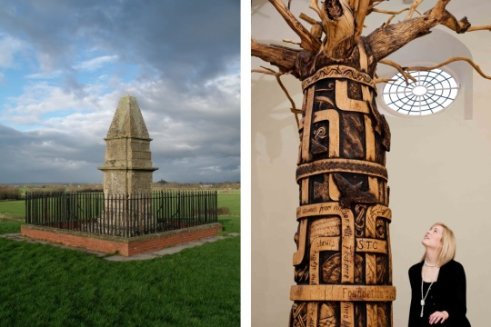 Alfred's Monument and the history tree at the Museum of Somerset, images supplied by South West Heritage Trust