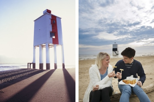 Close up of lighthouse from Somerset Image Library, and couple eating chips in front of lighthouse by Colin Hawkins for Visit Somerset