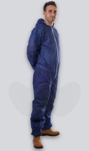 Blue Non-Woven Disposable Coveralls With Zip Front