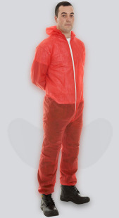 Red Non-Woven Disposable Coveralls With Zip Front