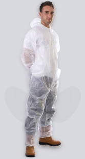 White Non-Woven Disposable Coveralls With Zip Front