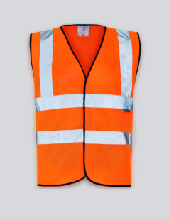 Orange Hi-Vis Vest, Black Piping, Class 2