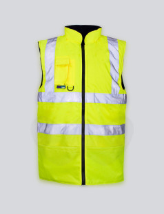 Yellow Hi-Vis Fleece Lined Bodywarmer