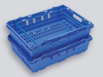 Blue Dual Height Maxinest Plastic Crate, 600x400x167mm