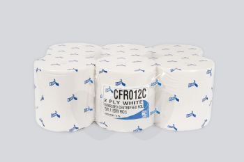 White Embossed Centre feed rolls 2Ply